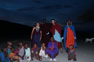 Me and another student, Dan, with our Maasai families