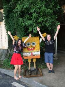 And finding the best wicker Spongebob ever while going down the mountain.