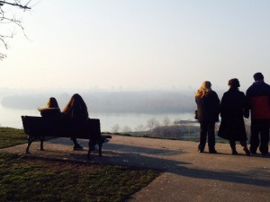 MARCH - Fog and slumbering tree limbs overlooking the Danube and Sava rivers converge at Kalemegdan fortress.