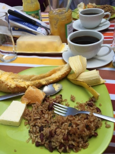 Gallo Pinto (a very traditional dish of Costa Rica and Nicaragua) and plantains (also very commonly eaten in Costa Rica).