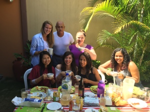 My Spanish professor's family invited the entire class over for breakfast and class lessons in his backyard!