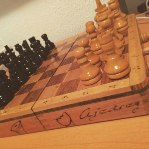 My classmate Mary was sweet enough to give me my very own chess set. It was very unexpected. This is my first chess set, and I'm so in love!