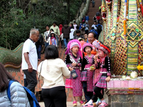 Little girls in Chiang Mai. Chiang Mai is a very popular city full of traditions with over 300 Buddhist Temples.