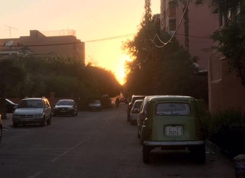 Sunset over the neighborhood we stayed in Marrakesh