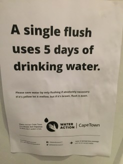 South Africa's drought prompts at least a couple of posters like this that address water conservation in every restroom you walk into